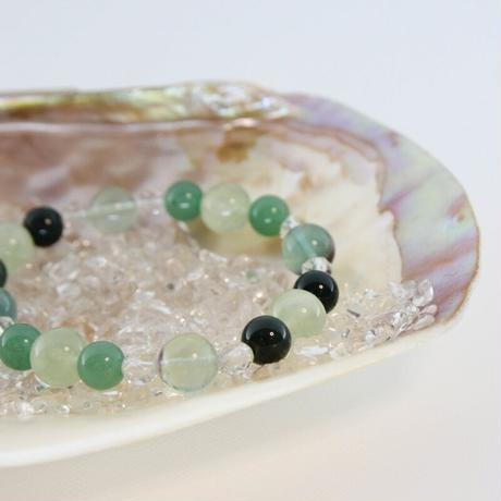 プリーナイト・レインボーフローライト・アベンチュリン・ブラッドストーン・スターカット水晶のブレスレット(B5)