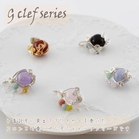 【G clef series】ローズクォーツ、インカローズ、アマゾナイト、サーペンティンのワイヤーペンダントトップ(CPN22)