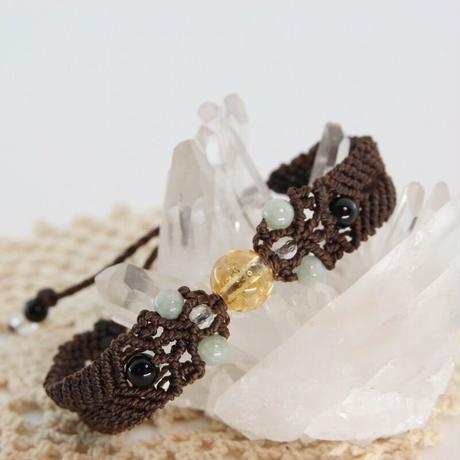 シトリン・翡翠・モリオン・水晶・オーロラクリスタルのヘンプ編みブレスレット(H1)
