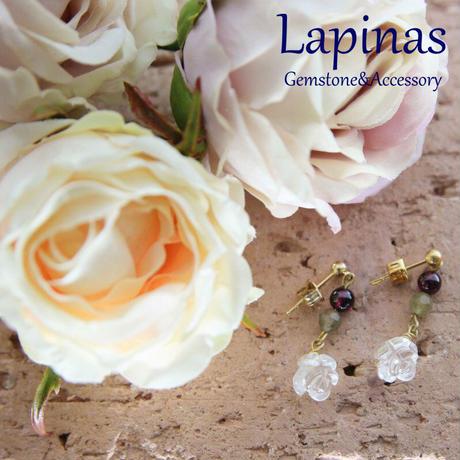 ガーネットと水晶、ラブラドライトの薔薇ピアス(GAIAP11)