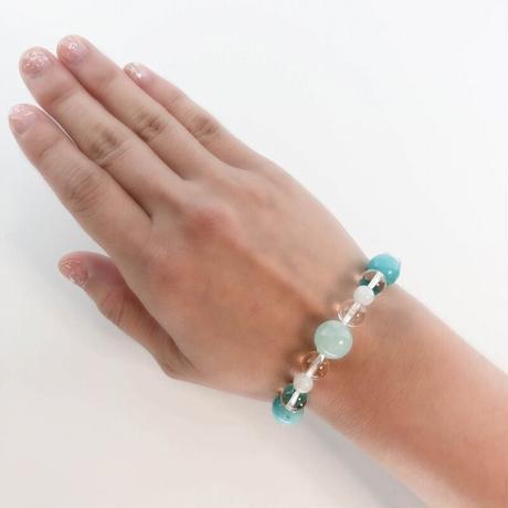 ブルーサーペンティン・アマゾナイト・イリデッセンスアンデシン・水晶のブレスレット(B11)