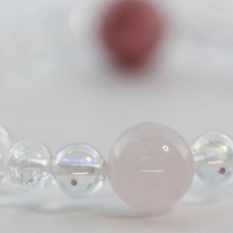 ロードナイト・ローズクォーツ・オーロラクォーツ・水晶のブレスレット(B2)
