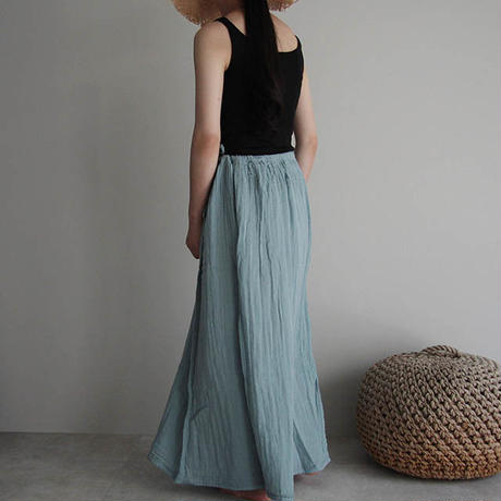 organic cotton long skirt  sax blue