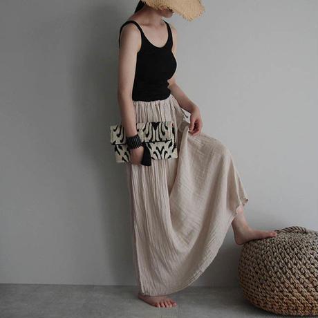 organic cotton long skirt beige