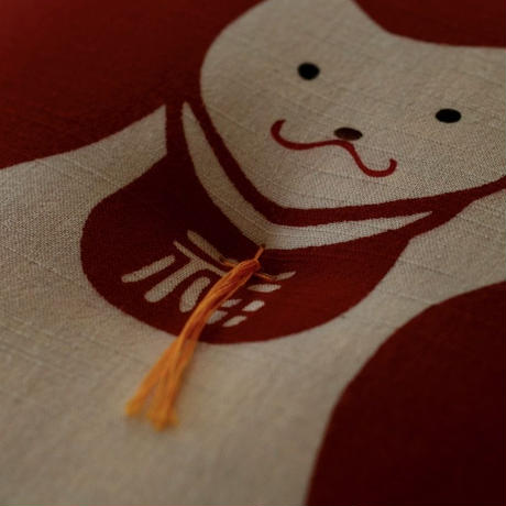 型染め本縫い小座布団 招き猫