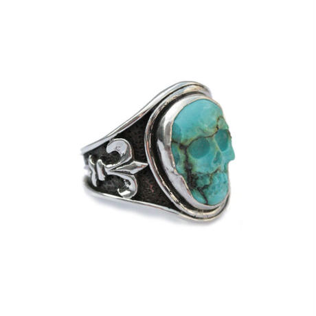 LEE DOWNEY - Sculpted Skull Ring - Turquoise