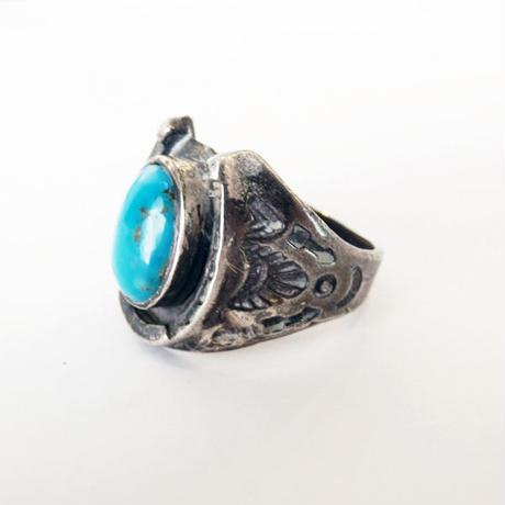 vintage - horse shoe ring TQ / v-192