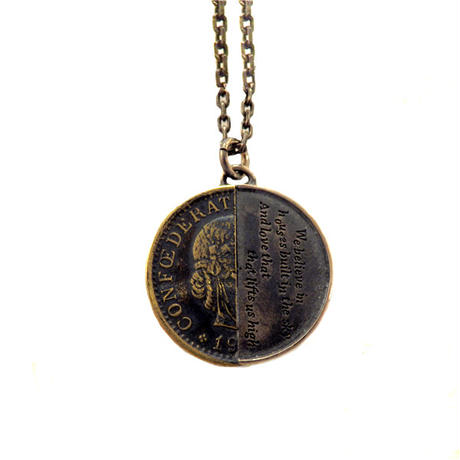 THEFT- silver×brass half coin Necklace top