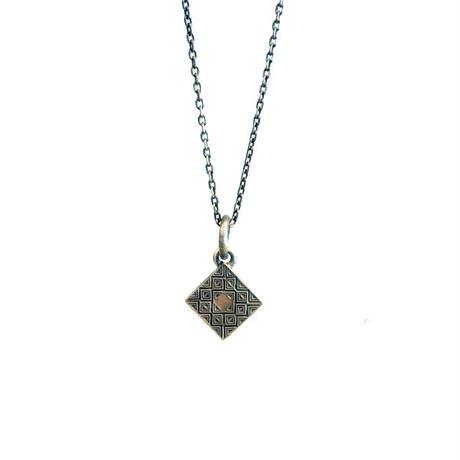bIRTHRE - flat tile engraving square cross pendant T-41 silver