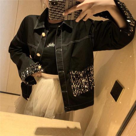 【取り寄せ品】きらめくビジューがアクセント★ ビジュー装飾 デニムジャケット