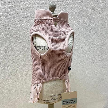 IDOG&ICAT  フリル付きワッフルタンク  DS(ダックスサイズ)/グレー/ピンク 【犬服 】