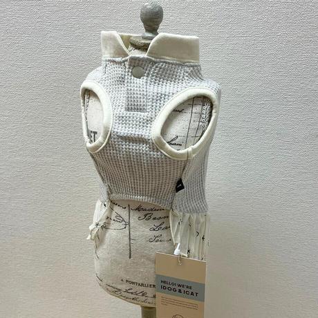 IDOG&ICAT  フリル付きワッフルタンク  S/グレー/ピンク 【犬服 】
