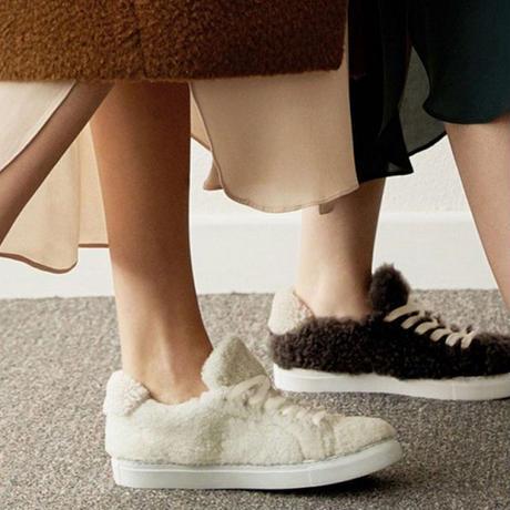 shoes-02087 ボアスニーカー エクリュ ダークブラウン