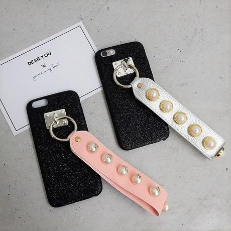 iphone-02360 送料無料! ブラック パール付きストラップ iPhoneケース