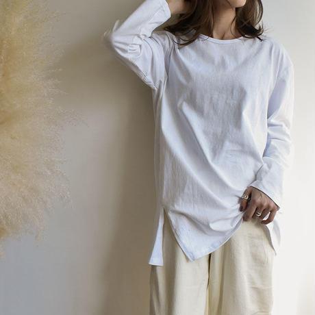 tops-02015  サイドスリット ロングTシャツ ホワイト
