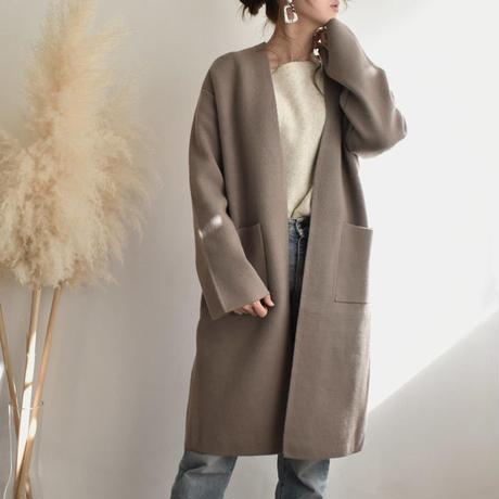 coat-02020 ウール混 ニットガウンコート グレージュ
