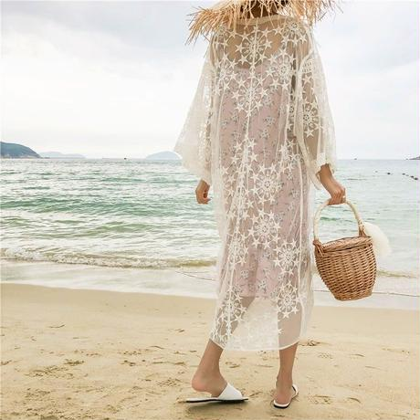 gown-02007 ロングレースガウン スター柄 カバーアップ レディース