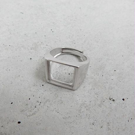 ring-02149 送料無料!SV925 スクエアカットアウトリング 11号から上にサイズ調整可能