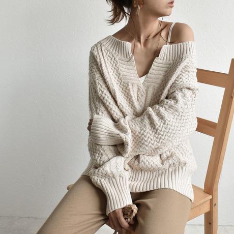 knit-02022 キーネック アランニットプルオーバー エクリュ