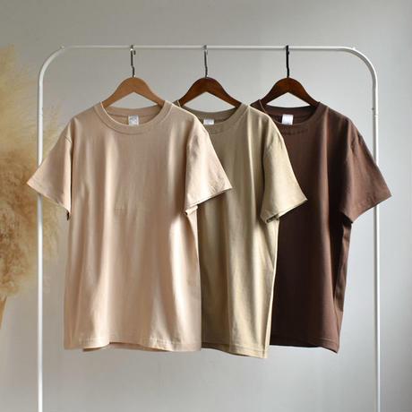 tops-02025 ヘビーウェイト ベーシック無地 オーバーサイズクルーネックTシャツ ベージュ カーキベージュ ブラウン