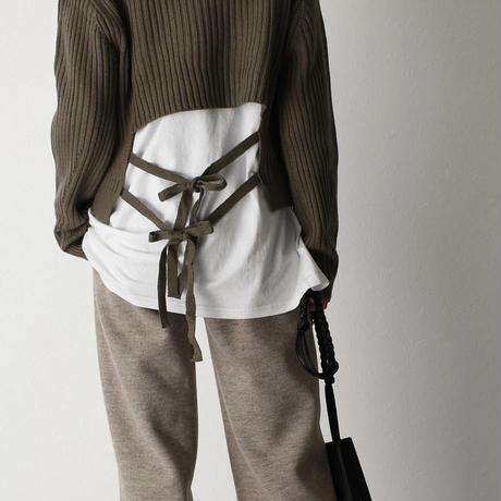 knit-02067 ウール混 バックリボンリブニット オフホワイト ベージュ ブラック カーキ