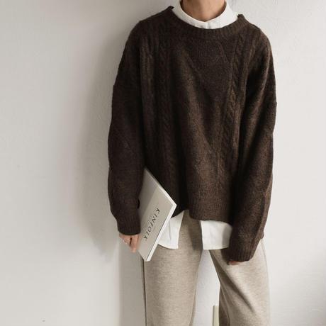 knit-02076 ケーブル柄 サイドスリット ニット ベージュ モカ ダークブラウン