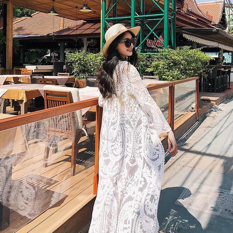 gown-02001 ロングレースガウン カバーアップ レディース オフホワイト