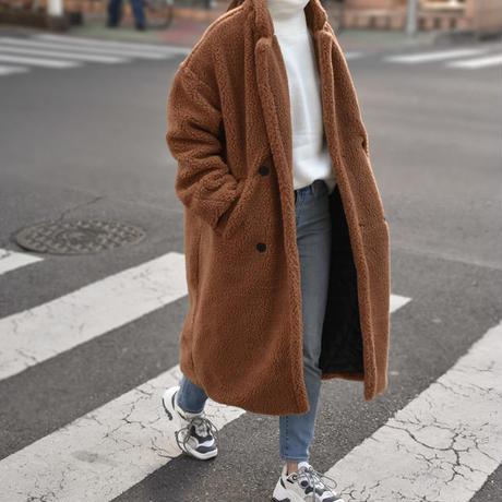 coat-02014 オーバーサイズ テディベアコート ボアロングコート ボアジャケット ブラウン