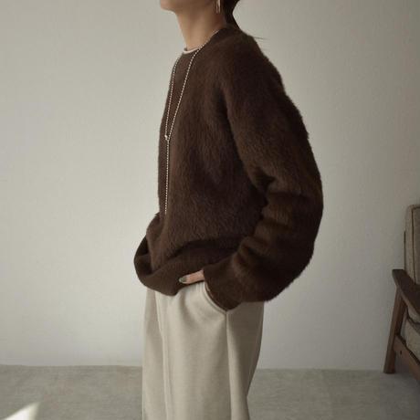 knit-02111 シャギー クルーネック ニット プルオーバー チャコール ブラウン