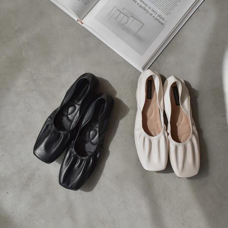 shoes-02094 エコレザー スクエアトゥ バレエシューズ ブラック エクリュ