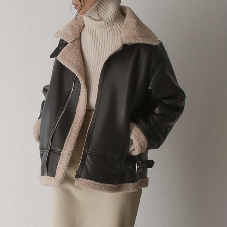coat-02027 エコレザー B-3  フライトジャケット ダークブラウン