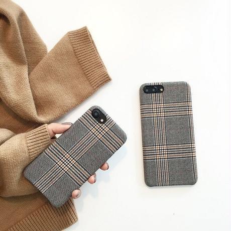 iphone-02399 送料無料! グレンチェック ファブリック  iPhoneケース