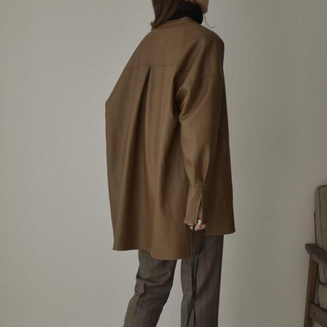 tops-07003 エコレザー シャツジャケット グレージュ ブラウン ブラック