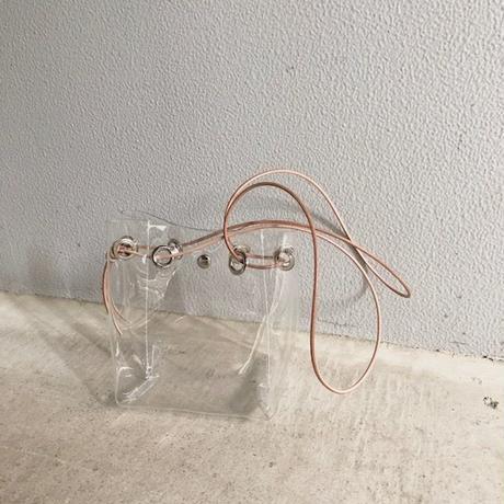 bag2-02331 本革ヌメコード PVC素材 クリアバッグ 巾着バッグ