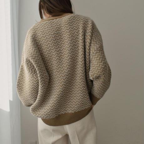 knit-02117 ジャガードニット モカベージュ ブラック
