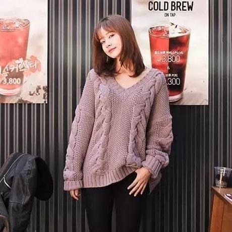 ニット トップス セーター ゆるニット Vネック ケーブル編み オーバーサイズ 大きい 大人かわいい  YK38