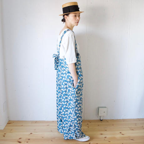 BUNON(ブノン) シルク 花柄プリント+刺繍 サロペット Embroidery Overalls