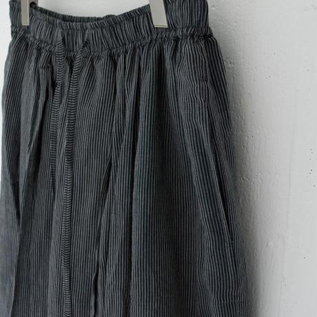 BUNON(ブノン) カディ コットンストライプ ギャザーロングスカート