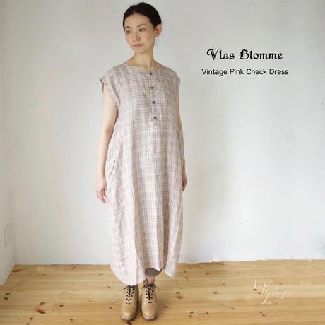 Vlas Blomme(ヴラスブラム)   Vintage Pink Check フレンチスリーブワンピース
