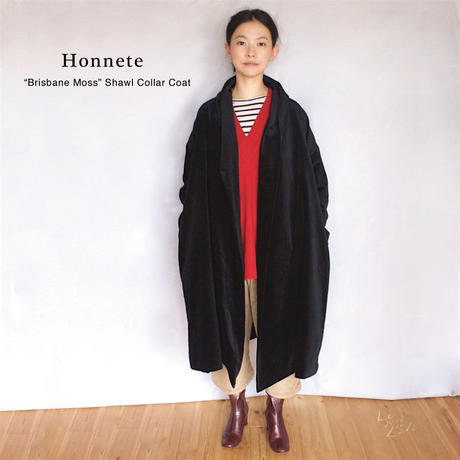 HONETTE (オネット):brisbane moss ベルベット ショールカラーローブ コート