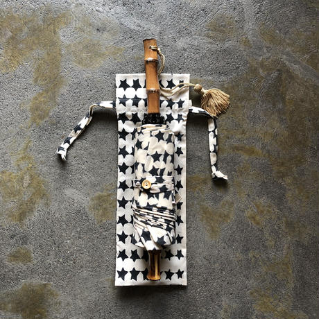 傳(ツタエノヒガサ)浜松注染 日傘/ 3段階折り畳みタイプ「ウサギノタスキ -キラキラ生成り」