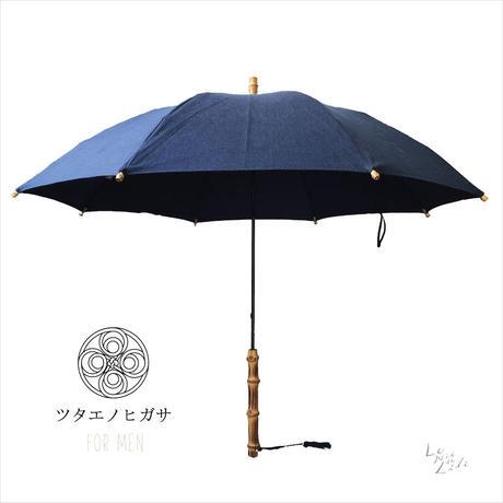 ツタエノヒガサ for men-日傘/ 長傘タイプ「テングノタスキ - 武州藍 染め 」