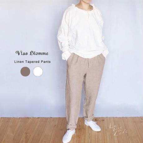 Vlas Blomme(ヴラスブラム)  Work Linen ワンタックテーパードパンツ 13537491