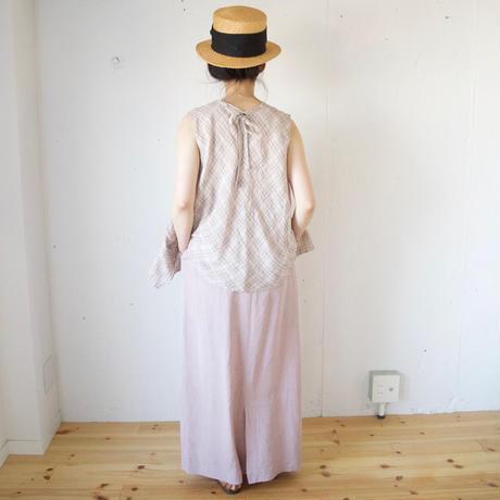 Vlas Blomme(ヴラスブラム)   Vintage Pink Check ノースリブラウス