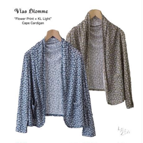 Vlas Blomme(ヴラスブラム)薄手天竺 フラワープリント ポケット付きショールカーディガン / ブルー