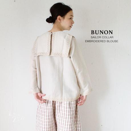 BUNON(ブノン) リネンコットン カディ 手刺繍入り セーラーカラー ブラウス