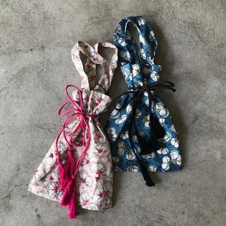 BUNON(ブノン) シルク 花柄プリント+刺繍 巾着バッグ