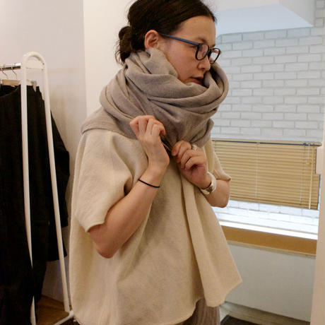 Honnete(オネット) Washed Twill Wide Stole/ウールリネン ショール 20AW-