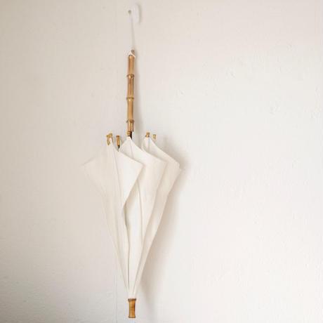 傳(ツタエノヒガサ)コットンリネン織り柄 日傘/ 長傘タイプ「キツネノタスキ -オリエンス白 」