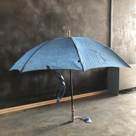傳(ツタエノヒガサ)リネン日傘「ウサギノタスキ 麻ム地 水縹 」3段階折り畳みタイプ
